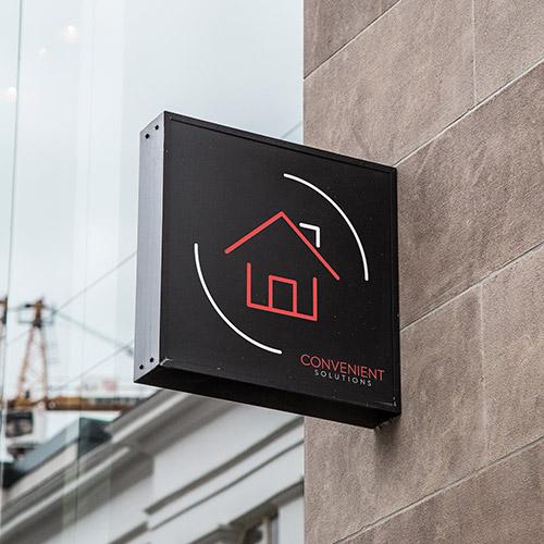 logo design mockup for convenient solutions